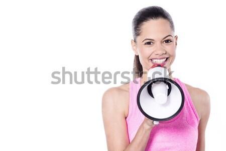 注目 誰も 発表 きれいな女性 ストックフォト © stockyimages