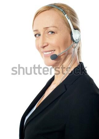 ストックフォト: クローズアップ · シニア · 女性 · 孤立した · 白 · ビジネス