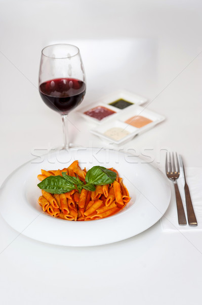 Stock photo: Delicious pasta and red wine served for dinner