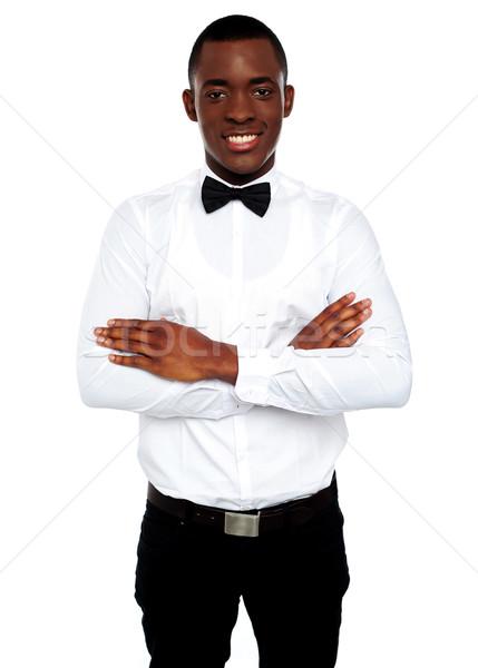 ストックフォト: 肖像 · 小さな · アフリカ · 男 · ポーズ · 折られた