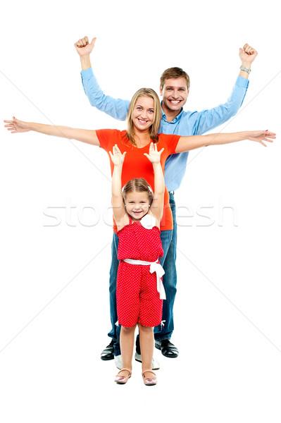 Jókedv szerető család teljes alakos portré összes Stock fotó © stockyimages