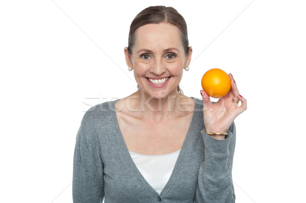 Foto stock: Retrato · mulher · laranja · branco
