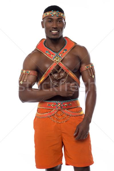 Hagyományos öltözék szamba mosolyog férfi táncos pózol Stock fotó © stockyimages