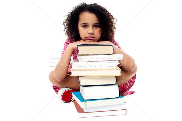 überwältigt Studium Hausaufgaben müde Schülerin ruhend Stock foto © stockyimages