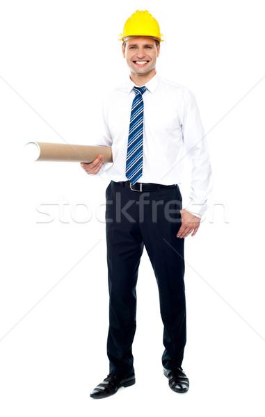 市民の エンジニア 青写真 着用 黄色 ストックフォト © stockyimages