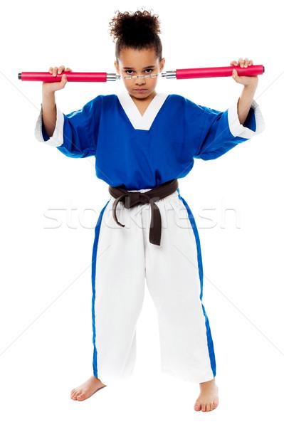 Genç kız karate üniforma kız hazır Stok fotoğraf © stockyimages