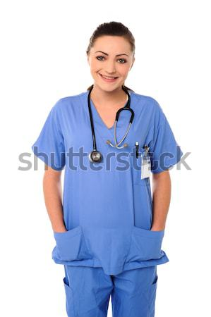 çekici genç doktor gülen kadın doktor Stok fotoğraf © stockyimages