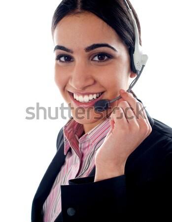 Blij zakenvrouw praten mobiele telefoon Stockfoto © stockyimages