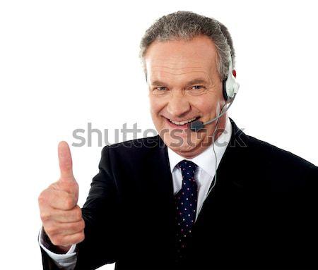 ストックフォト: コールセンター · 執行 · 笑みを浮かべて · ジェスチャー · 孤立した · 作業