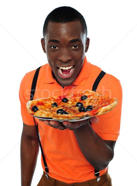 Foto stock: Menino · uniforme · oferta · pizza · isolado · branco