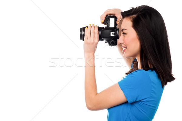 Sajt mosoly profi női divat fotós Stock fotó © stockyimages