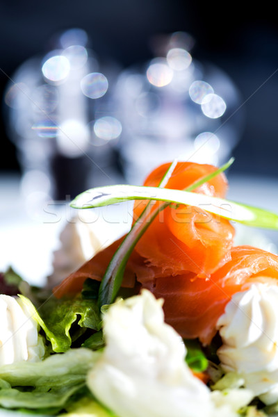 Smoked salmon with cream and salad Stock photo © stockyimages