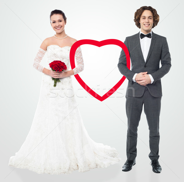 Bride and groom, smiling. Stock photo © stockyimages