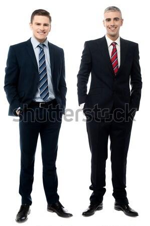 Foto stock: Posando · blanco · empresarios · junto