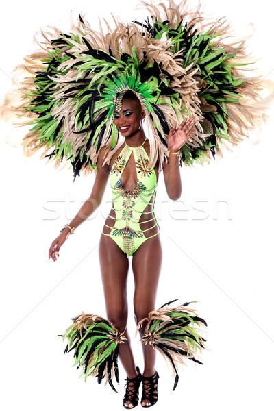 Teljes alakos afrikai szamba táncos nő előad Stock fotó © stockyimages