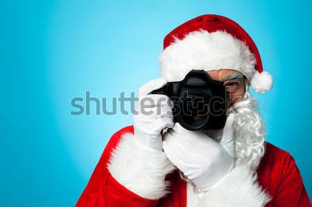 Kopott mikulás kameralencse kattintás izolált citromsárga Stock fotó © stockyimages