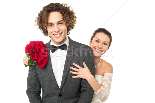 Studio shot of a newlywed couple Stock photo © stockyimages
