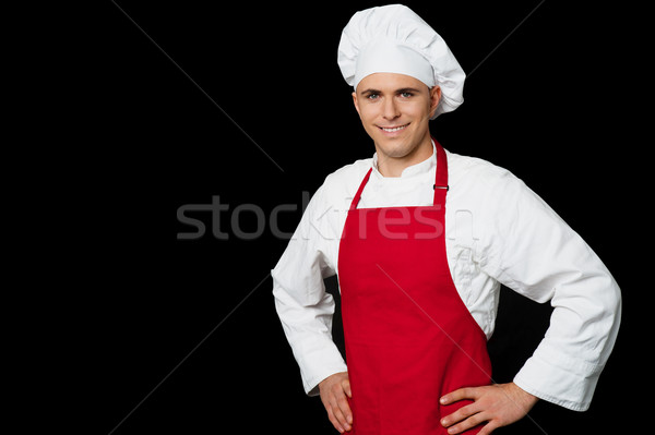 Happy male chef, isolated on white Stock photo © stockyimages