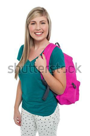 Hosszú hajú szőke nő tinilány lezser portré mosolyog Stock fotó © stockyimages