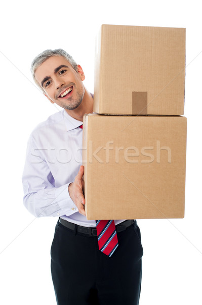 Stock photo: Aged man holding cardboard boxes