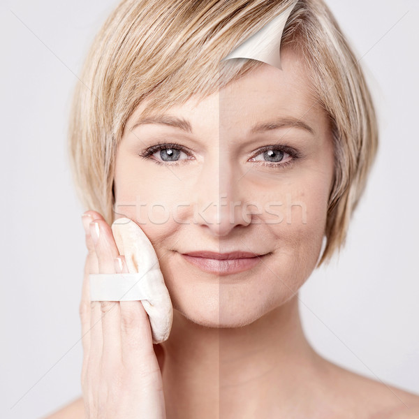 Visage maquillage comparaison portrait femme heureux Photo stock © stockyimages
