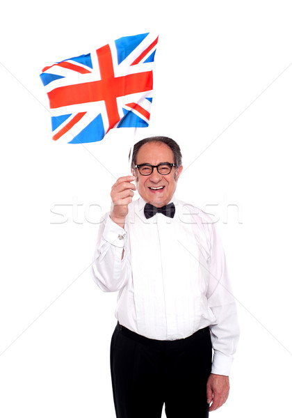 Man cheering for United Kingdom. Waving flag Stock photo © stockyimages