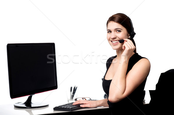 Kadın yürütme müşteri çağrı güzel destek Stok fotoğraf © stockyimages