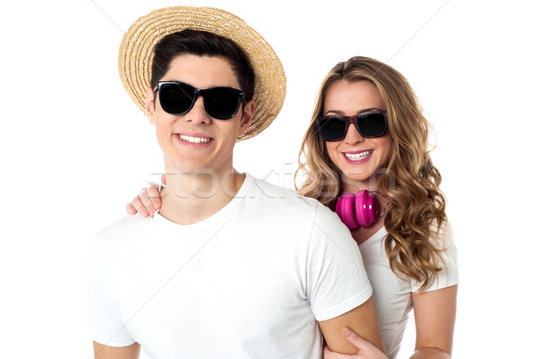 Cool couple enjoying during vacations Stock photo © stockyimages