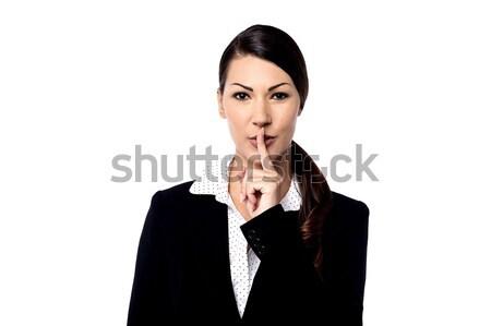 Foto stock: Mujer · bonita · dedo · labios · jóvenes · mujer · de · negocios