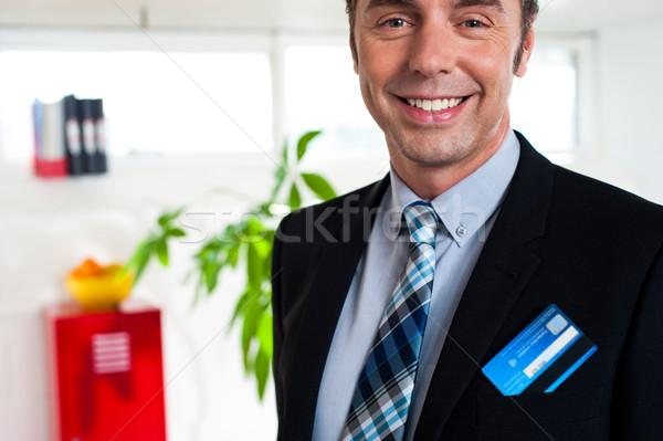 クレジットカード ブレザー ポケット 画像 笑みを浮かべて ストックフォト © stockyimages