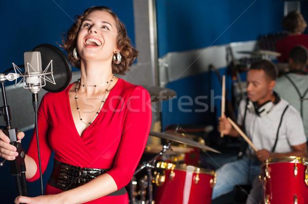 Foto stock: Encantador · cantante · nuevos · tema · femenino · canción