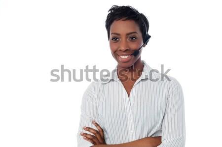 Confident female help desk executive Stock photo © stockyimages