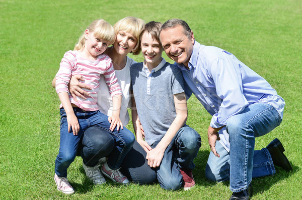 Lovable family posing in the park Stock photo © stockyimages