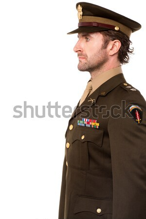 Side view of military officer salutation Stock photo © stockyimages