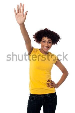 Enojado femenino centro dedo Foto stock © stockyimages