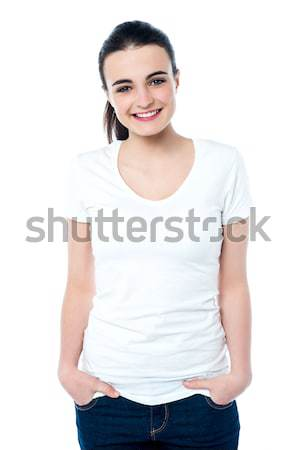 Young attractive teen model in casuals Stock photo © stockyimages