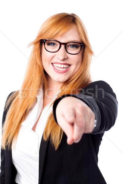 довольно корпоративного Lady указывая деловая женщина Сток-фото © stockyimages