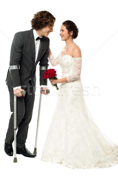 Fier femme encourageant handicapées mari Photo stock © stockyimages