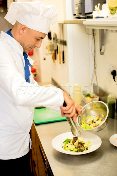 Tasty salad garnishing by chef. Stock photo © stockyimages
