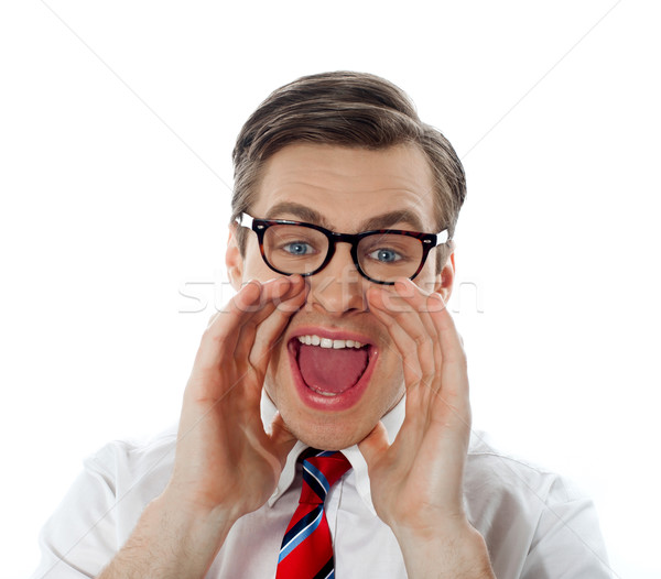Stock photo: Portrait of a modern excited businessman