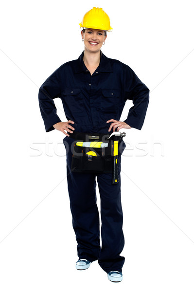 Active woman construction worker Stock photo © stockyimages