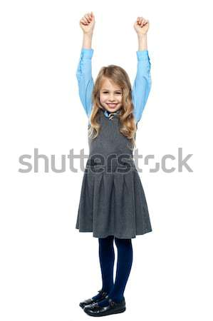 Kid mains excitation souriant école Photo stock © stockyimages