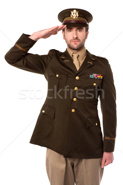 US army officer in saluting his senior Stock photo © stockyimages