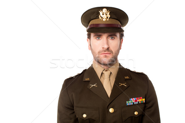 Smart US army man facing camera Stock photo © stockyimages