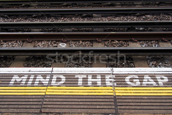 Stock photo: A view of the railway. Mind the gap.