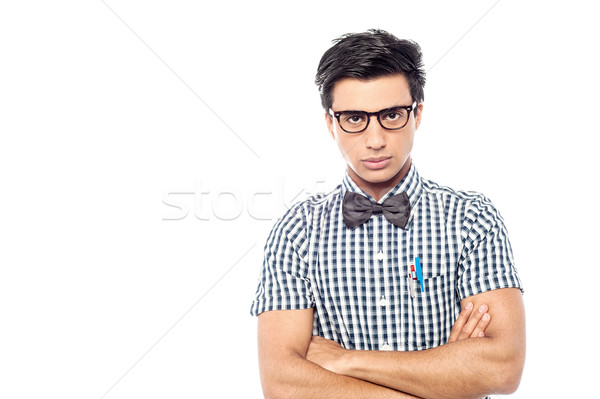 Young serious man with bowtie Stock photo © stockyimages