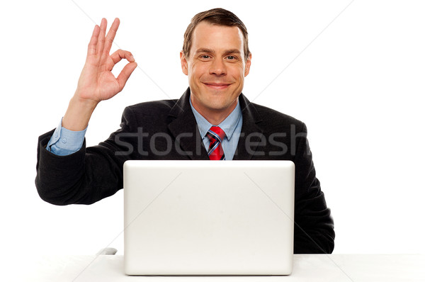 Attractive businessperson showing okay gesture Stock photo © stockyimages
