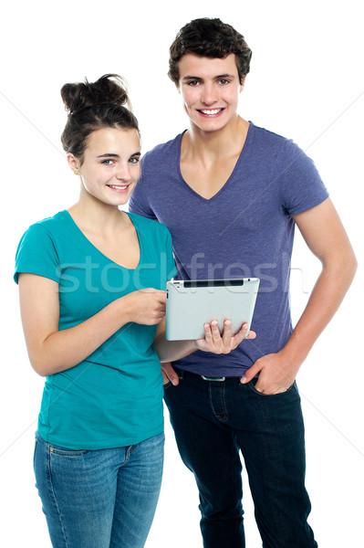Technologie couple nouvellement comprimé marché acheter Photo stock © stockyimages