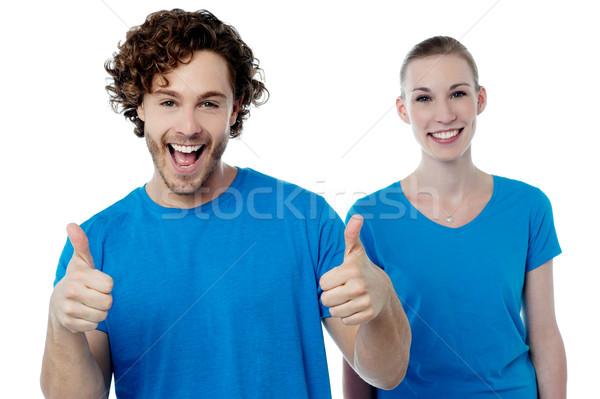 Vrolijk paar gelukkig man Stockfoto © stockyimages
