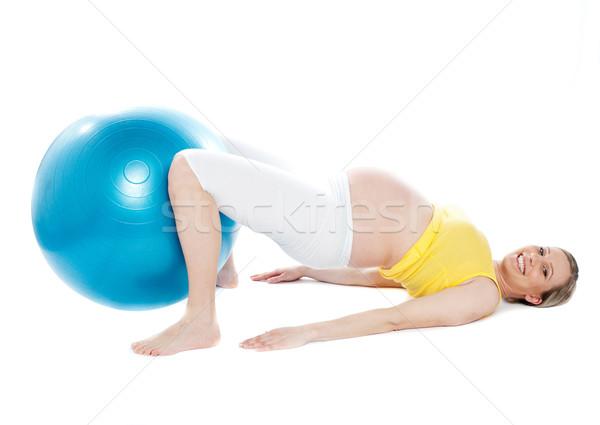 Foto stock: Mujer · embarazada · relajación · ejercicio · jóvenes · fitness · pelota